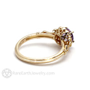 Rare Earth Jewelry 14K Lavendar Sapphire Engagement Ring Vintage Filigree Halo Setting