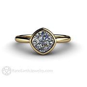 Forever One Moissanite in Yellow Gold Solitaire