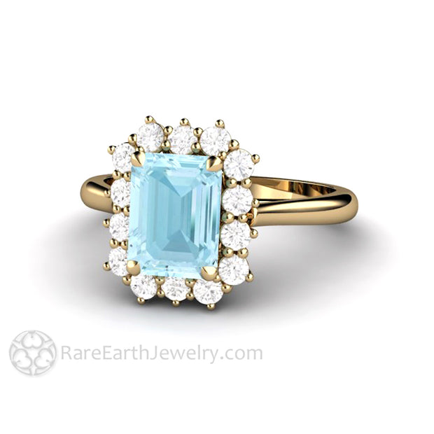 Rare Earth Jewelry 14K Natural Aquamarine Engagement Ring with Diamond Accent Gemstones