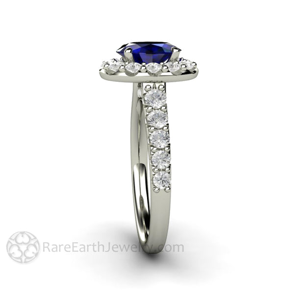 Rare Earth Jewelry 14K Pave Diamond Halo Oval Blue Sapphire Ring September Birthstone