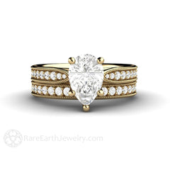 Charles & Colvard 9x6mm Pear Moissanite Wedding Set Milgrain Detail with Diamond Accents Rare Earth Jewelry
