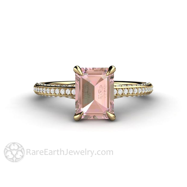 14K Yellow Gold Pink Sapphire Ring Solitaire with Diamond Accents by Rare Earth Jewelry