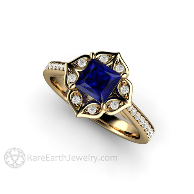 14K Yellow Gold and Blue Sapphire Engagement Ring Antique Style Sapphire Ring September Birthstone Jewelry from Rare Earth Jewelry