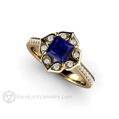 Rare Earth Jewelry 14K Princess Cut Blue Sapphire Right Hand Ring September Birthstone
