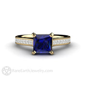 Rare Earth Jewelry 14K Princess Cut Blue Sapphire Ring Natural Diamond Accent Stones