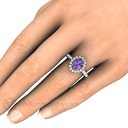 Rare Earth Jewelry 14K Purple Sapphire Right Hand Ring on Finger Oval Cut Halo
