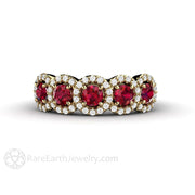 Rare Earth Jewelry Ruby Mothers Ring July Birthstone Natural Diamond Accents 14K or 18K Gold