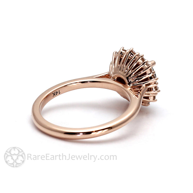 14K Rose Gold Vintage Style Halo Engagement Ring by Rare Earth Jewelry