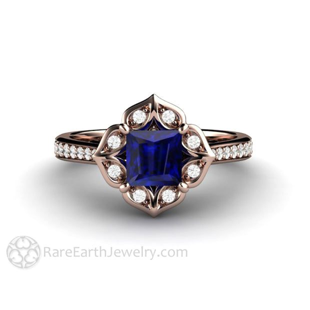 14K Rose Gold and Blue Sapphire Ring Princess Engagement Ring Vintage Style by Rare Earth Jewelry