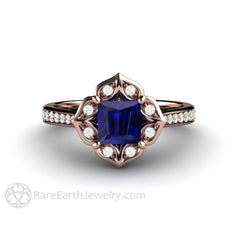 Rare Earth Jewelry 14K Rose Gold Princess Blue Sapphire Ring Dimonad Halo Vintage Style