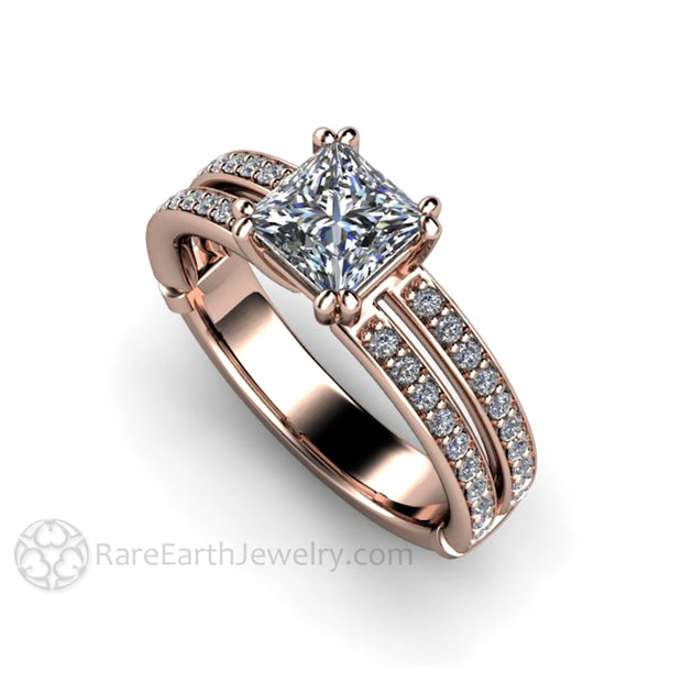 Rare Earth Jewelry 14K Rose Gold Princess Diamond Bridal Ring Split Band Double Prong GIA 1 Carat Solitaire
