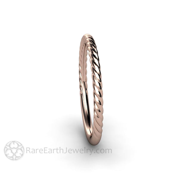 Rare Earth Jewelry Thin Twist Rope Band Wedding Ring Stackable