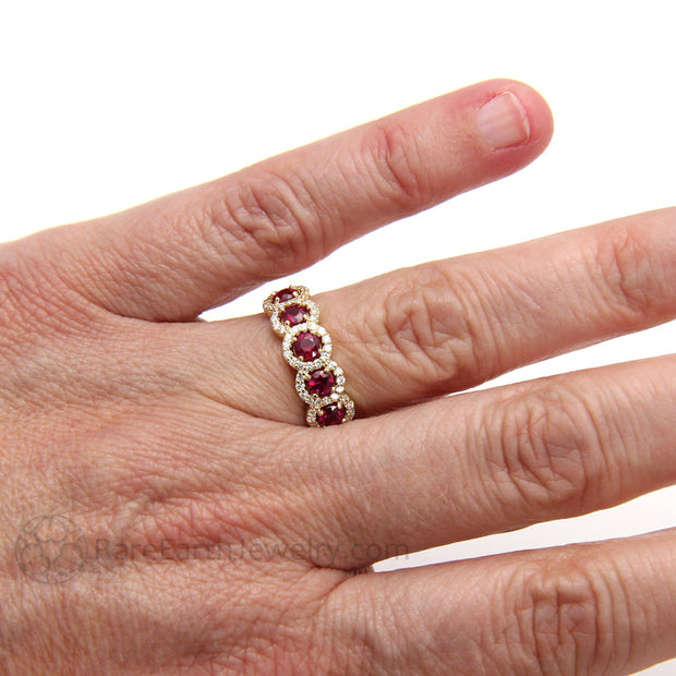 Rare Earth Jewelry Ruby Anniversary Band or July Birthstone Ring on Finger Round Cut Diamond Halo 14K Yellow Gold
