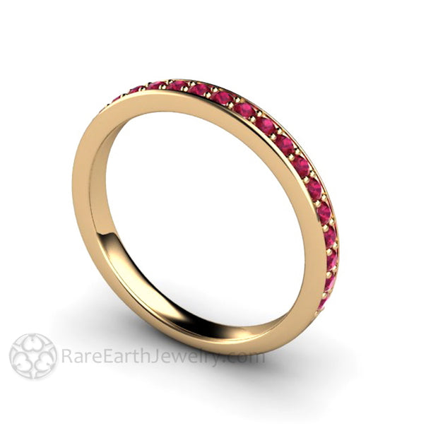 Rare Earth Jewelry 14K Ruby Stacking Anniversary Ring Stackable Band