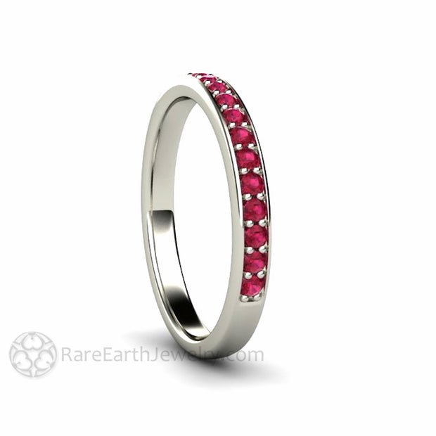 Rare Earth Jewelry Ruby Stacking Wedding Anniversary Ring 14K White Gold