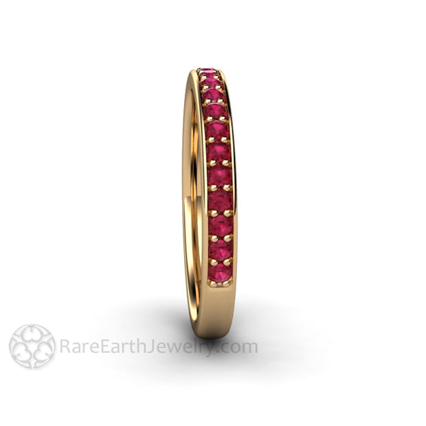 Rare Earth Jewelry 14K Ruby Wedding Ring Stacking Band