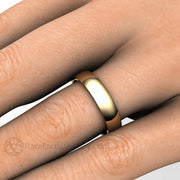 Rare Earth Jewelry 14K Yellow Gold Traditional Wedding Ring on Finger 5MM Half Round Curved Dome Design