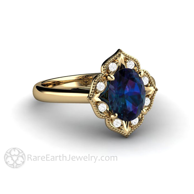 Rare Earth Jewelry 14K Vintage Oval Alexandrite Engagement Ring Milgrain with Diamond Accents