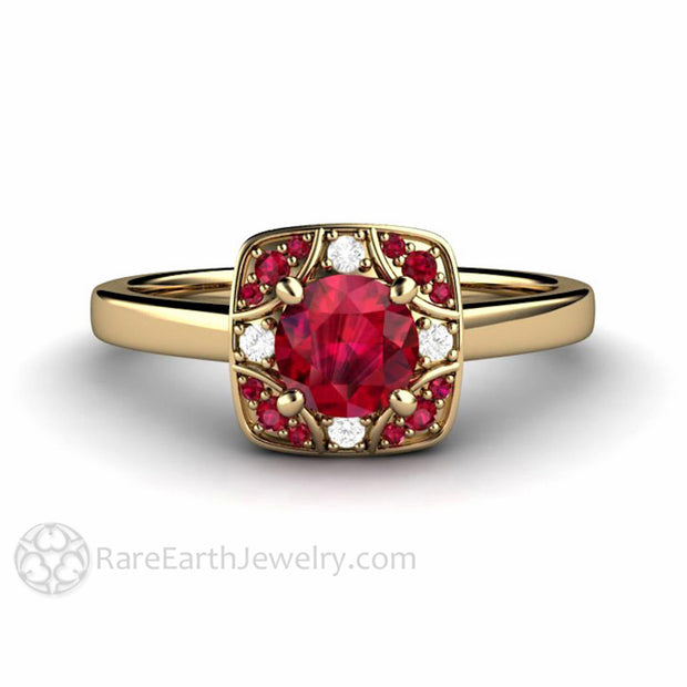 Rare Earth Jewelry 14K Vintage Style Art Deco Ruby Ring Anniversary or July Birthstone