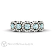 Rare Earth Jewelry Natural Aquamarine and Diamond Ring Round Cut 5 Stone Halo 14K White Gold