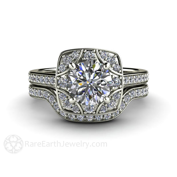 Rare Earth Jewelry Platinum Moissanite Bridal Set 1ct Engagement with Diamond Wedding Band Deco Design