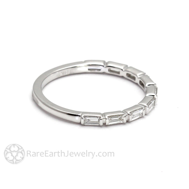 Rare Earth Jewelry 14K White Gold Baugette Diamond Band Stacking Ring
