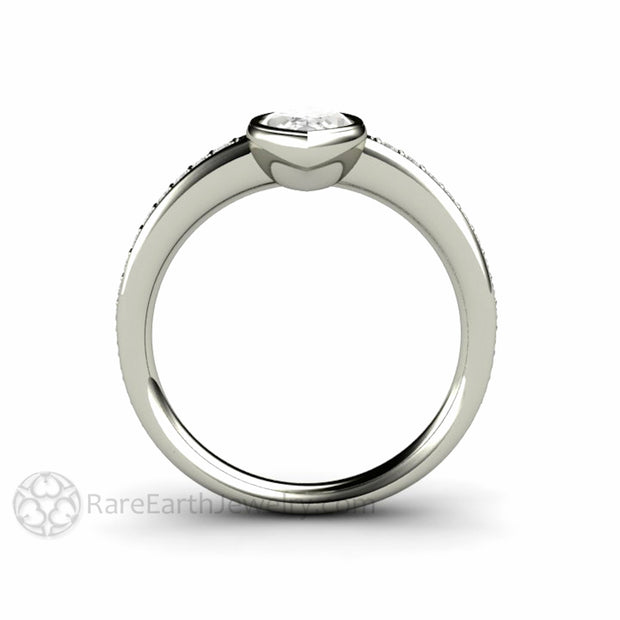Low Profile Solitaire Engagement Ring Bezel Set with Marquise Cut Moissanite by Rare Earth Jewelry