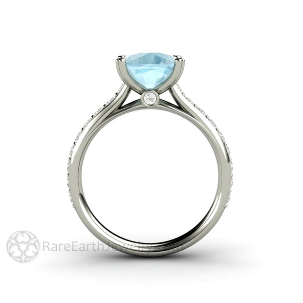 Rare Earth Jewelry 14K White Gold Diamond Cathedral Cushion Aquamarine Ring 3ct Solitaire Double Prong Pave Diamond Setting