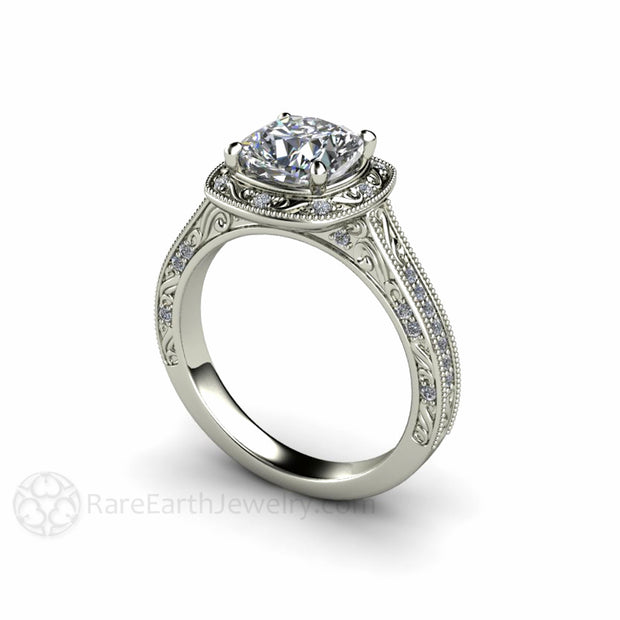Rare Earth Jewelry 1.5 Carat Cushion Moissanite Ring Vintage Style with Diamond Halo Milgrain and Filigree Detail