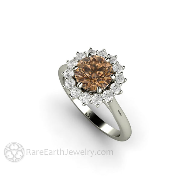 Rare Earth Jewelry 14K White Gold Moissanite Wedding Ring 1.25ct Brown Center Stone with Forever One Halo