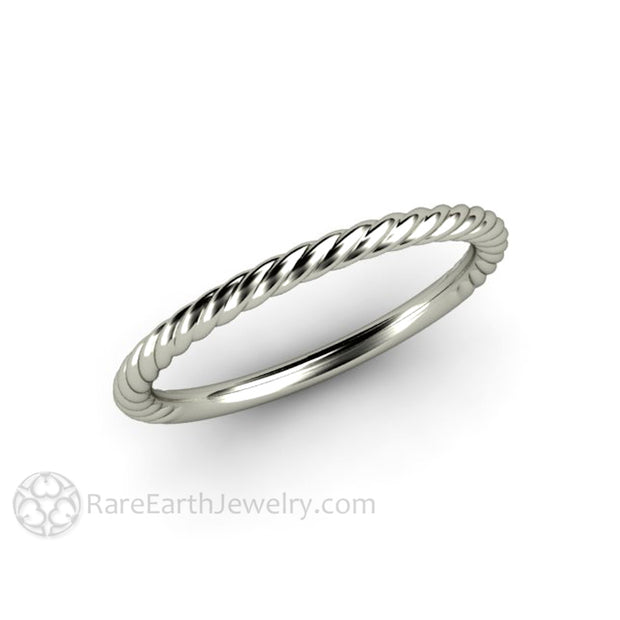 Rare Earth Jewelry 14K White Gold Rope Twist Stacking Right Hand Ring
