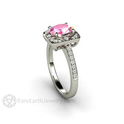 Rare Earth Jewelry 14K White Gold Sapphire and Diamond Bridal Ring 8x6mm Oval Pink Center Stone