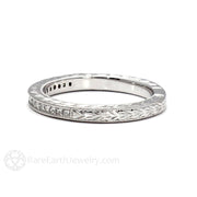 Rare Earth Jewelry 14K White Gold Vintage Style Princess Cut Diamond Wedding Band