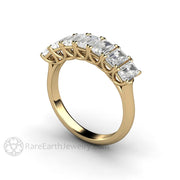 Rare Earth Jewelry 14K Yellow Gold Emerald Moissanite Wedding Ring Woven Prong Seven Stone Colorless Forever One
