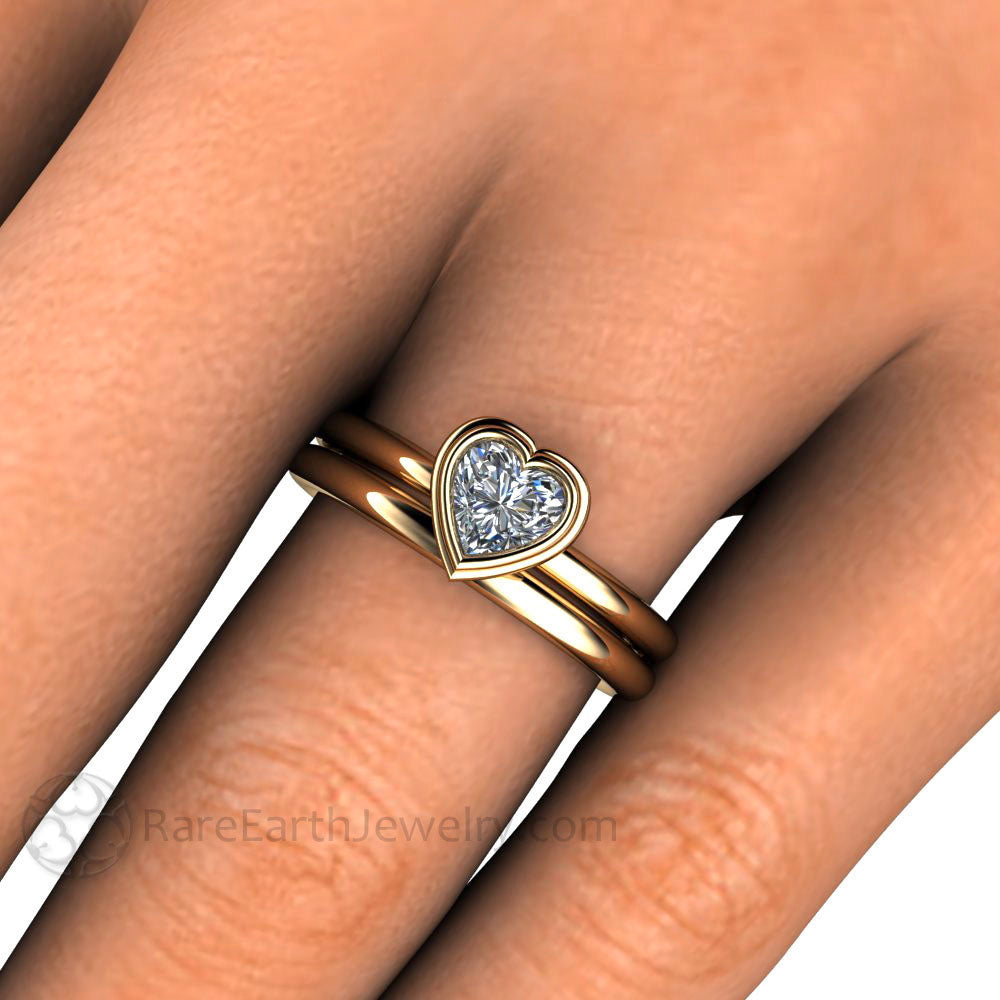 Heart Solitaire Moissanite Engagement Ring ...