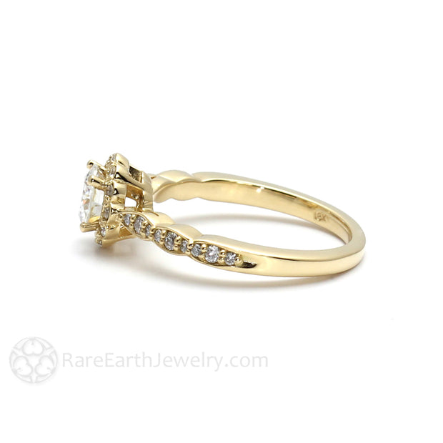 Rare Earth Jewelry Yellow Gold Round Cut Moissanite Ring Vintage Style Halo Setting Forever One
