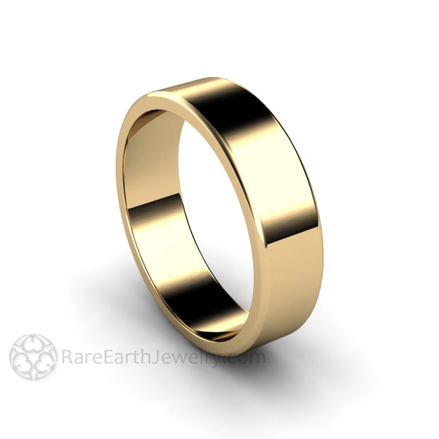 Rare Earth Jewelry 14K Yellow Gold Wedding Ring 6mm Classic Style Flat Band