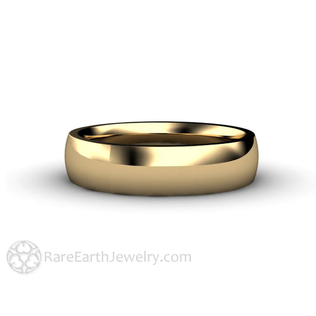 Rare Earth Jewelry 14K Yellow Gold Wedding Ring Traditional His and Hers 5mm Curved Domed Design