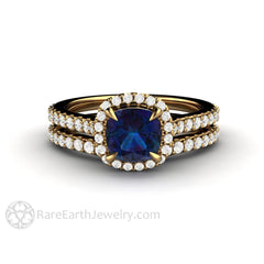 Rare Earth Jewelry 18K Alexandrite Halo Wedding Ring Set 1 Carat Cushion Cut Natural Color Change Gemstone Diamond Accented