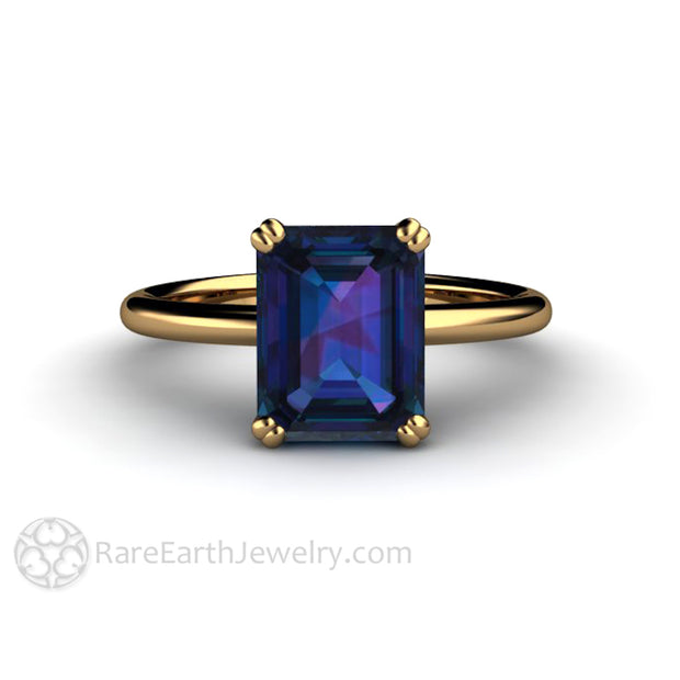 Rare Earth Jewelry 18K Alexandrite Ring Double Prong Setting Color Change Solitaire Yellow Gold