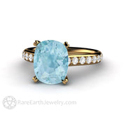 Rare Earth Jewelry 18K Aquamarine Engagement Ring 3 Carat Cushion Cut Solitaire with Diamond Accents