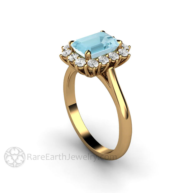 Rare Earth Jewelry 18K Aquamarine Halo Ring 1.5ct Emerald Cut March Birthstone or Anniversary