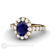 Rare Earth Jewelry 18K Blue Sapphire Wedding Ring Oval Diamond Halo