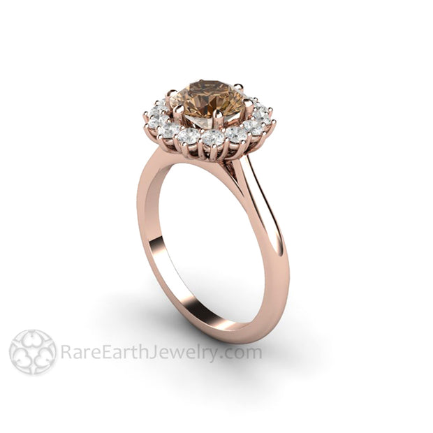 Rare Earth Jewelry 18K Brown Moissanite Halo Rose Gold Engagement Ring Conflict Free Diamond Alternative