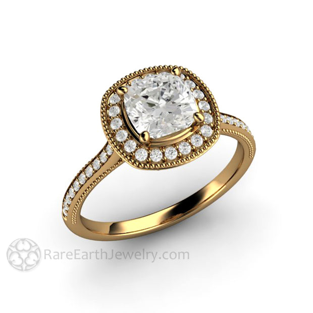 Rare Earth Jewelry 18K Forever One Cushion Moissanite Halo Ring Filigree Milgrain Beaded Detailing Diamond Alternative Bridal