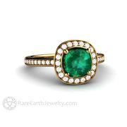 Rare Earth Jewelry 18K Cushion Green Emerald and Diamond Wedding Ring Halo Setting