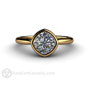 Rare Earth Jewelry 18K Gold Bezel Moissanite Wedding or Anniversary Ring 1 Carat Cushion Cut