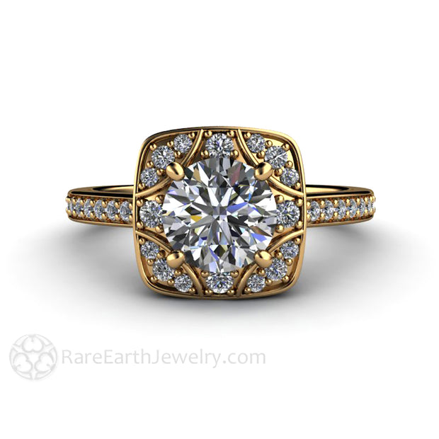 Rare Earth Jewelry 18K Moissanite Bridal Ring Forever One 1 Carat Center Stone with Diamond Accents