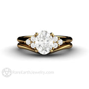 Rare Earth Jewelry 18K Gold Oval Moissanite Wedding Set with Plain Gold Band Diamond Accented