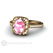 Rare Earth Jewelry 18K Gold Pink Sapphire Ring Diamond Accented Antique Style Setting